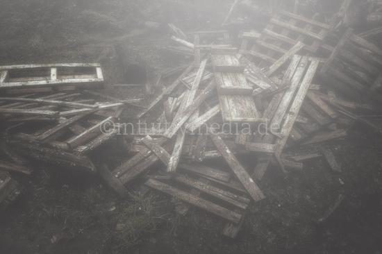 Vermoderte Paletten im Nebel