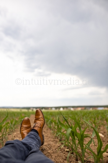 Man relax im Maisfeld - Shuhe - Pause