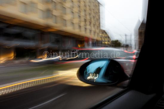 Back mirror from a speeding car