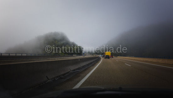 Hazy highway from drivers view