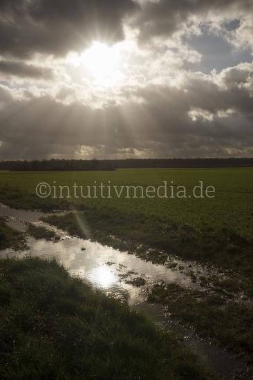 Licht über dem Feld