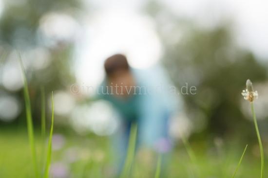 Frau pflückt Blumen auf Sommerwiese