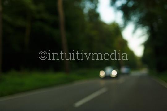 Waldstraße mit Gegenverkehr