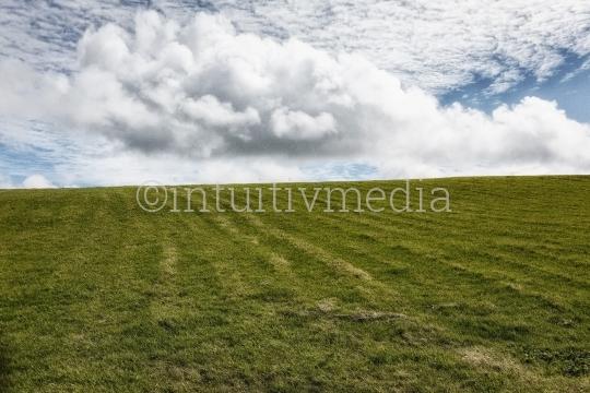 Puristische Landschaft Wiese und Wolken
