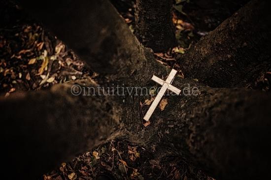 Kreuz zwischen Bäume