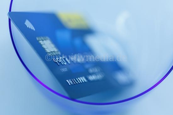 Blaue Kreditkarte Makro