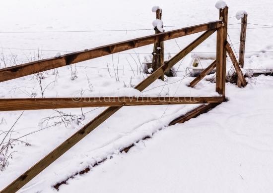 Winter Landschaft - Zaun im Schnne