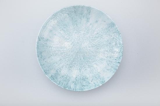 Blauer Teller von oben